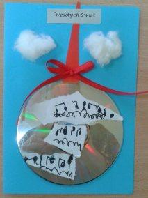 Kartki świąteczne - bombka Boże Narodzenie Marlena Wrońska Prace plastyczne Prace plastyczne (Boże Narodzenie) Święta Zima (Prace plastyczne)