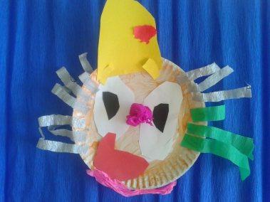 Klaun z papierowego talerzyka Karnawał Marlena Wrońska Postacie (Prace plastyczne) Prace plastyczne Prace plastyczne (Karnawał)