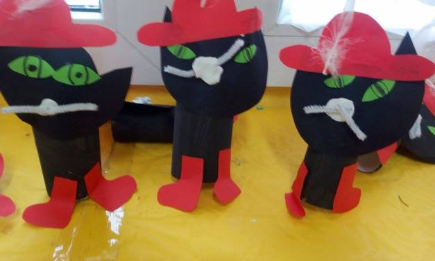Koty w butach na rolce