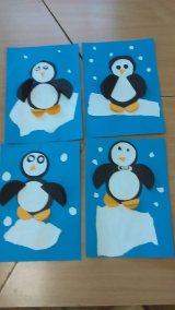 Pingwinki w mroźnej krainie z kółek Dzień wiedzy o pingwinach Izabela Kowalska Kreatywnie z dzieckiem Nauka kształtów Zima Zwierzęta