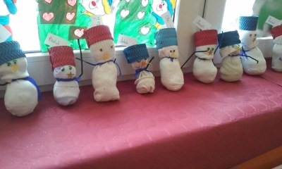 Skarpetkowy Bałwanek Kreatywnie z dzieckiem Monika Okoń Prace plastyczne (Boże Narodzenie) Święta Zima
