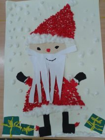 Święty Mikołaj z brystolu - praca grupowa Kreatywnie z dzieckiem Marlena Wrońska Mikołajki Prace plastyczne Święta