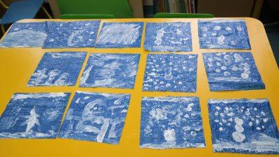 Zimowy obrazek malowany pastą do zębów Aneta Grądzka-Rudziak Prace plastyczne Zima (Prace plastyczne)