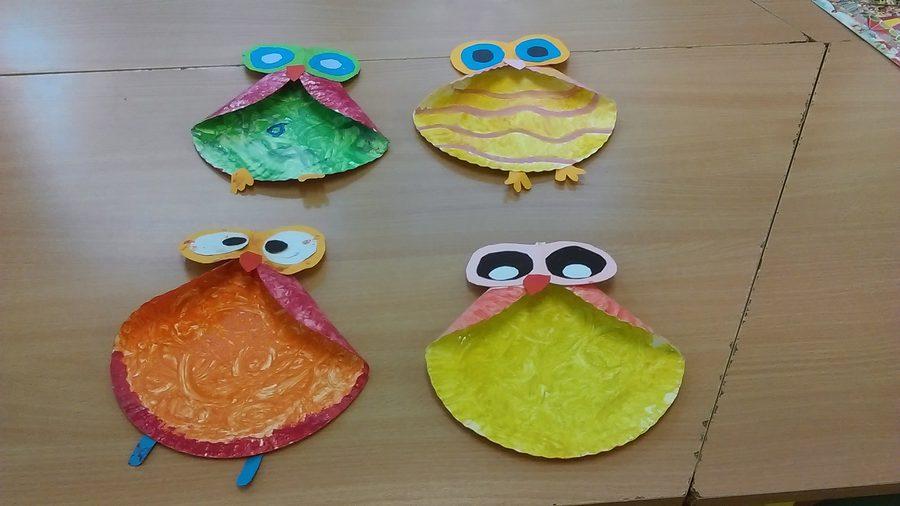 Sowa z papierowych talerzyków Izabela Kowalska Jesień Jesień Kreatywnie z dzieckiem Prace plastyczne Prace plastyczne Światowy Dzień Zwierząt