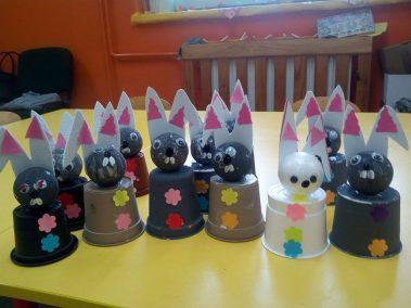 Króliczki z doniczki Kreatywnie z dzieckiem Monika Okoń Prace plastyczne Prace plastyczne Światowy Dzień Zwierząt Wielkanoc Zwierzęta