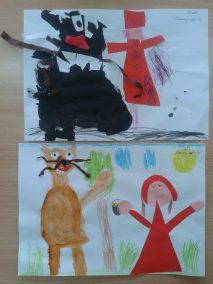 Czerwony Kapturek Dzień postaci z bajek Marlena Wrońska Postacie (Prace plastyczne) Prace plastyczne Prace plastyczne (Dzień Postaci z Bajek)