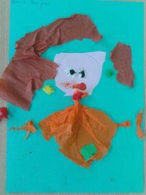 Pani Jesień - wyklejanka Jesień Jesień Kreatywnie z dzieckiem Marlena Wrońska Prace plastyczne