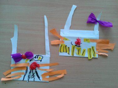 Zajączki wielkanocne z koperty Marlena Wrońska Prace plastyczne Prace plastyczne (Dzień Zwierząt) Prace plastyczne (Wielkanoc) Światowy Dzień Zwierząt Wielkanoc (Prace plastyczne) Zwierzęta (Prace plastyczne)