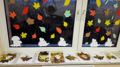 Jesienna dekoracja okien Gabriela Krzyształa Jesień Jesień Kreatywnie z dzieckiem Prace plastyczne