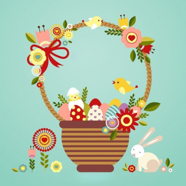 Wielkanocne symbole w koszyku Agata Dziechciarczyk Wielkanoc (Wierszyki) Wierszyki