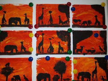 Krajobraz z wykorzystaniem farb Małgorzata Wojkowska Prace plastyczne Prace plastyczne (Dzień Zwierząt) Światowy Dzień Zwierząt Zwierzęta (Prace plastyczne)