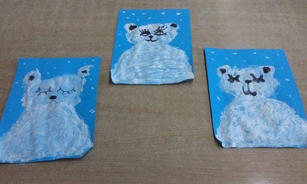 Malowanie korkiem Niedźwiedzia Polarnego