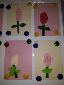 Hiacynt z paseczków samodzielnie wycinanych Małgorzata Wojkowska Prace plastyczne Prace plastyczne (Na wsi) Wiosna (Prace plastyczne)