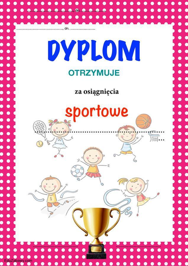 Dyplom za osiągnięcia sportowe Dyplomy Okolicznościowe Za konkursy