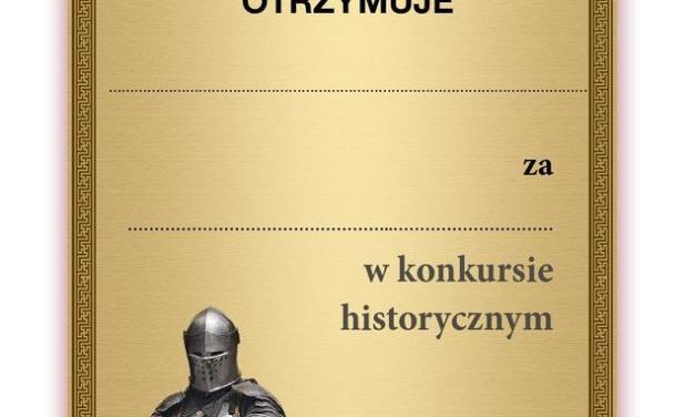Dyplom za udział w konkursie historycznym