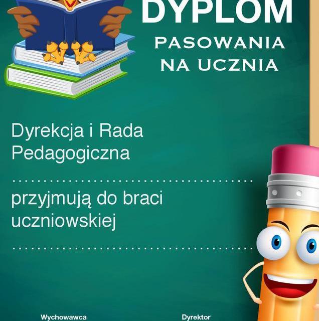 Dyplomy pasowania na ucznia (pionowe)