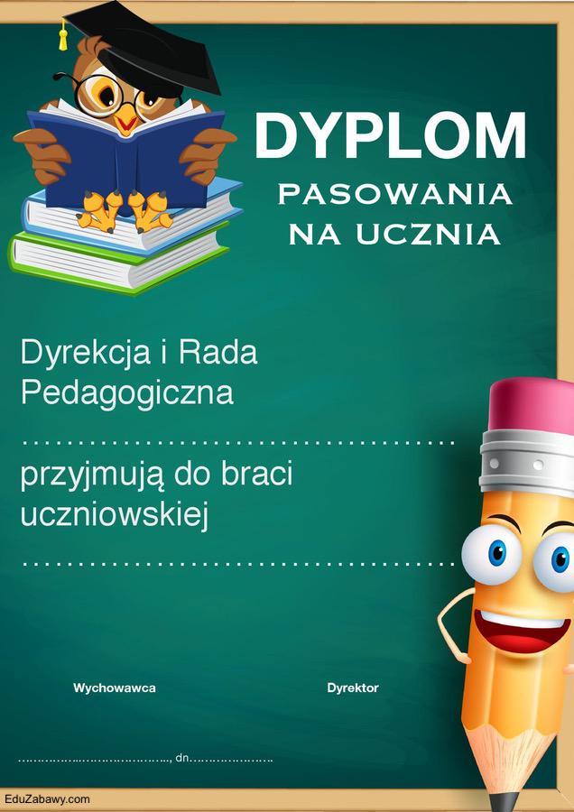 Dyplomy pasowania na ucznia (pionowe) Dyplomy Okolicznościowe Pasowanie Pasowanie na ucznia