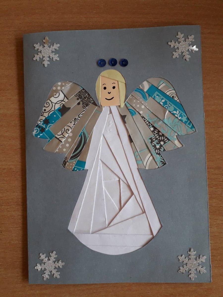 Kartka z aniołkiem Alicja Mazur Boże Narodzenie Prace plastyczne
