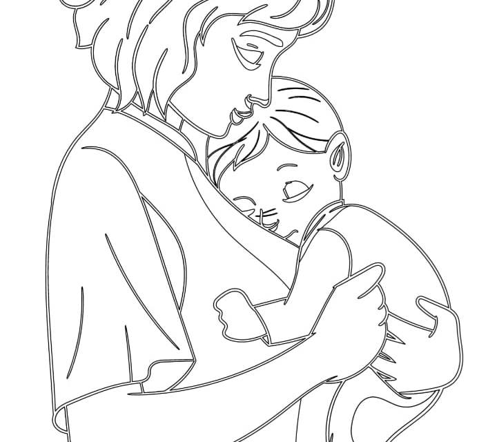 Kolorowanki: Mama z synkiem (6 szablonów)
