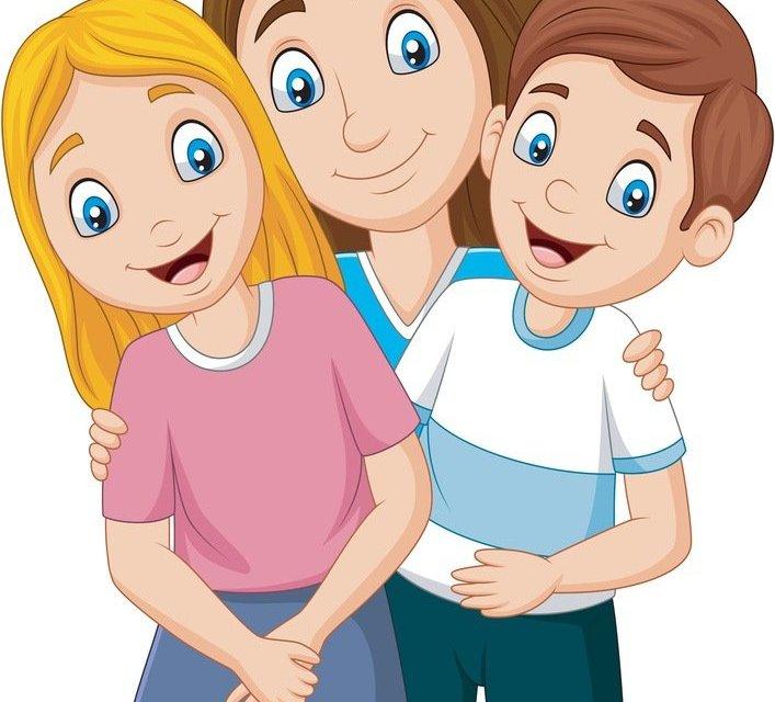Dekoracje: mama z dziećmi XXL (6 szablonów)