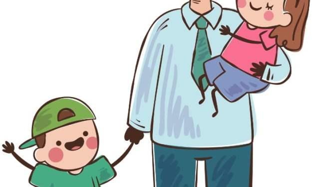 Dekoracje: tata z córką i synem (6 szablonów)