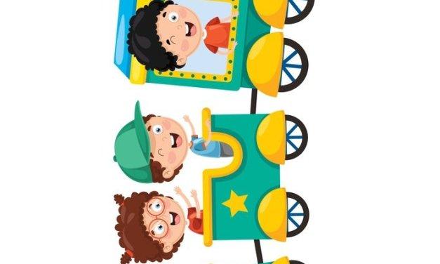 Dekoracje XXL: Pociąg z dziećmi (9 szablonów)