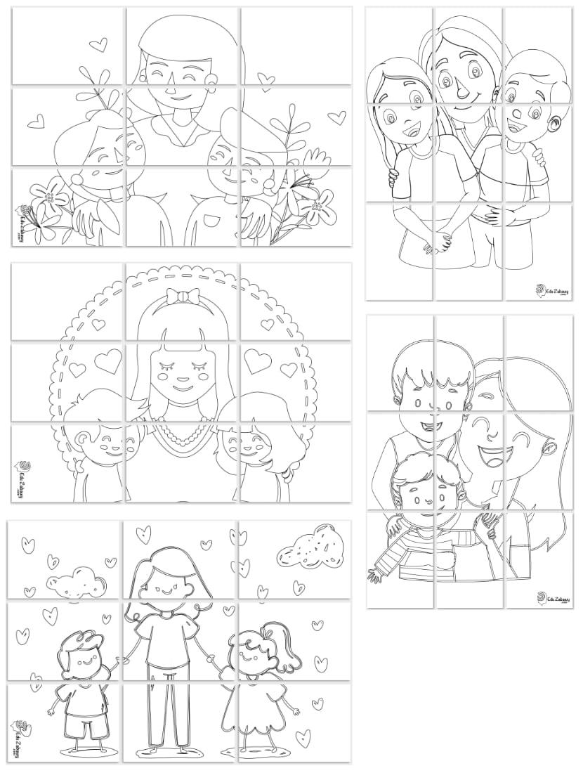 Kolorowanki XXL: Mama z dziećmi (5 szablonów) Dzień Matki Kolorowanki XXL Kolorowanki XXL (Dzień Mamy)