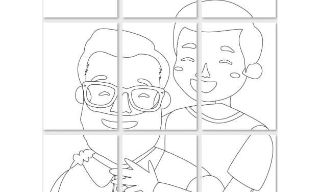Kolorowanki XXL: Tata z synkiem (6 szablonów)
