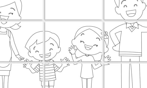 Kolorowanki XXL: tata z córką i synem (6 szablonów)
