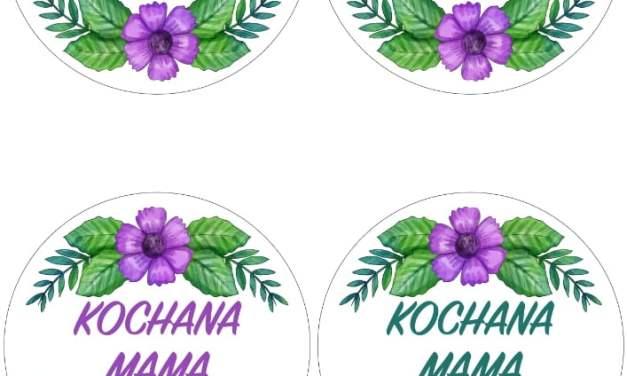 Kwieciste odznaki na Dzień Mamy (4 szablony)