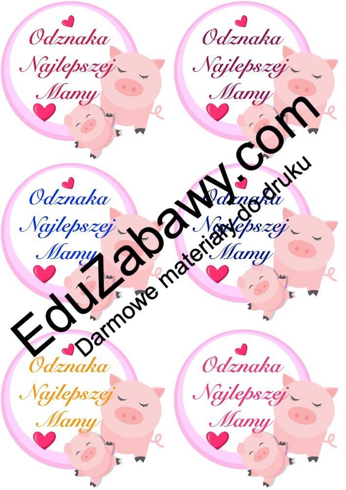 Odznaki na Dzień Mamy ze zwierzętami (4 szablony) Dzień Mamy Odznaki (Dzień Rodziny) Odznaki na Dzień Mamy