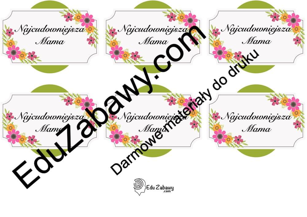 Odznaki na Dzień Mamy z kwiatami (6 szablonów) Dzień Mamy Odznaki (Dzień Rodziny) Odznaki na Dzień Mamy