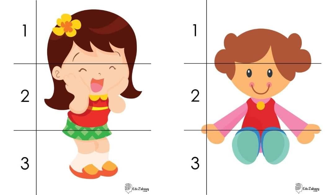 Dzień Dziewczynek: Puzzle 3 elementy (10 kart pracy)