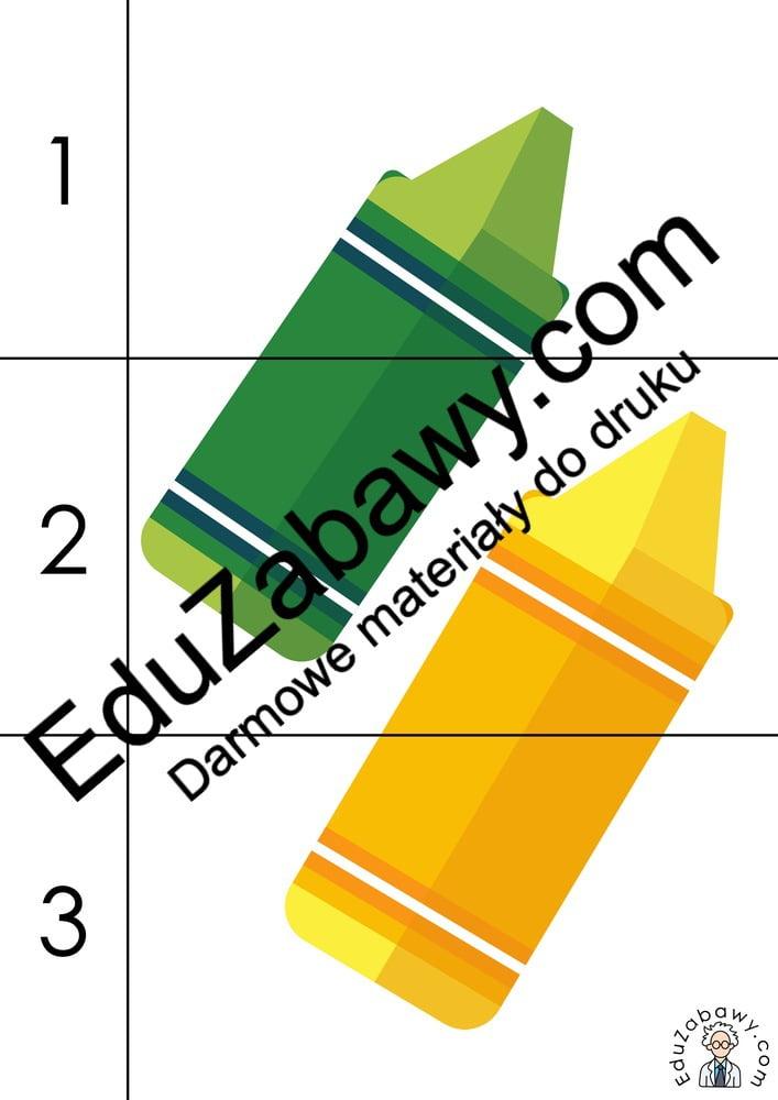 Dzień Kredki: Puzzle 3 elementy (10 kart pracy) Dzień Kredki Karty pracy Karty pracy (Dzień kredki) Puzzle