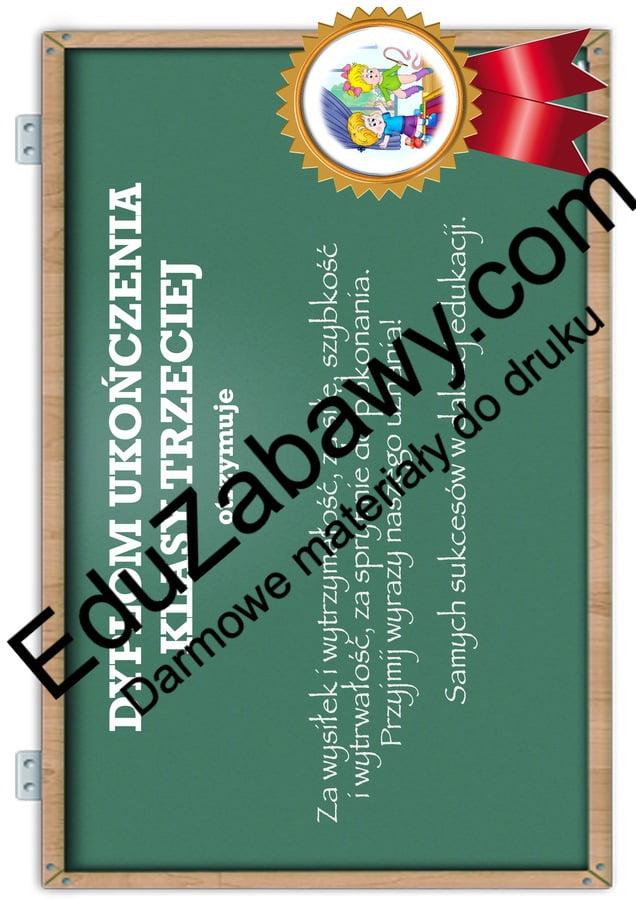 Dyplom ukończenia klasy 3 Dyplomy Dyplomy (Zakończenie roku) Okolicznościowe