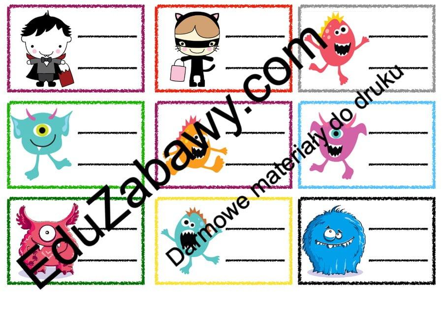 Znaczki przedszkolne – Potworki Powitanie przedszkola Święta i pory roku Wrzesień Znaczki na szafki / etykiety