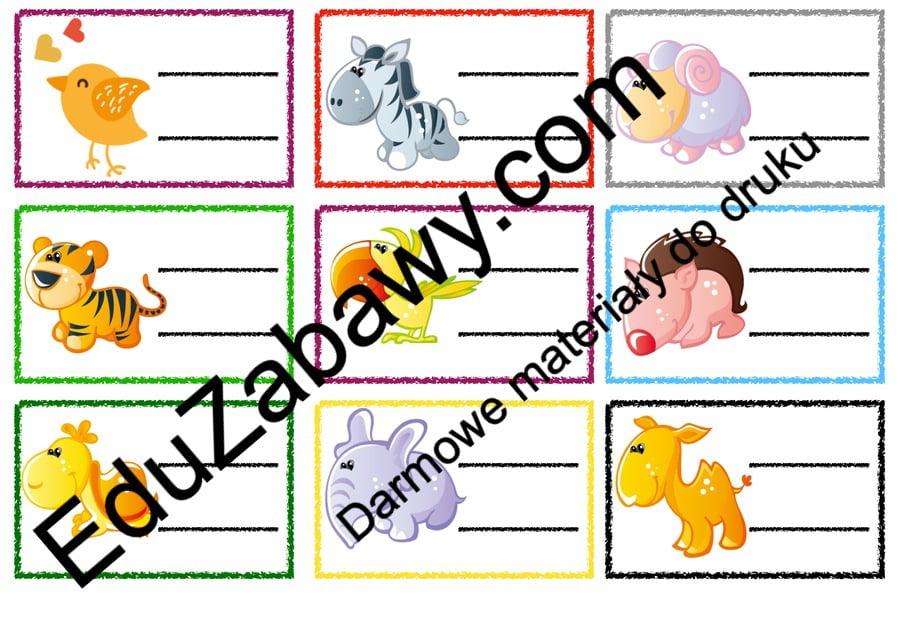Znaczki przedszkolne – Zwierzęta Powitanie przedszkola Tematyczne Wrzesień Znaczki na szafki / etykiety