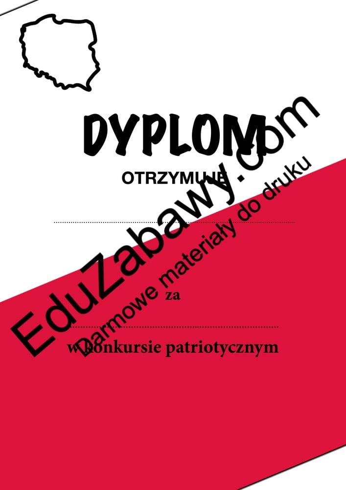 Dyplom za udział w konkursie patriotycznym Dyplomy Okolicznościowe Za konkursy