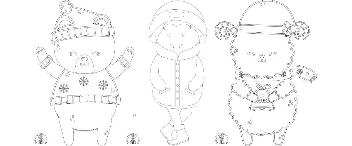 Zima: Kolorowanki (10 szablonów)