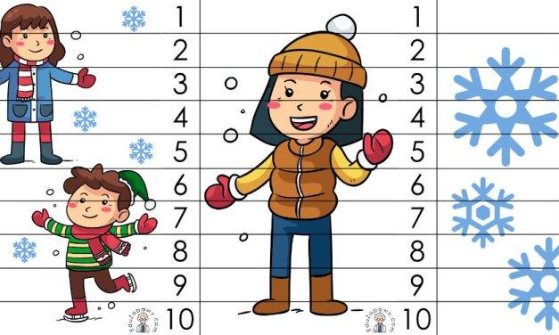 Zima: Puzzle 10 elementów (10 kart pracy)