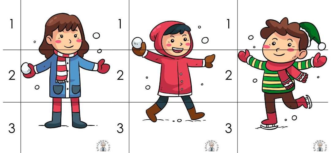 Zima: Puzzle 3 elementy (10 kart pracy)