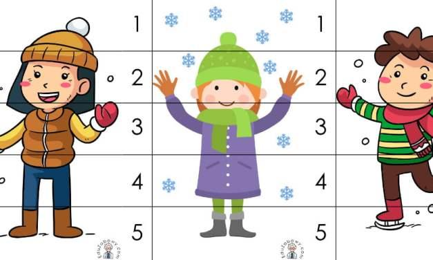 Zima: Puzzle 5 elementów (10 kart pracy)
