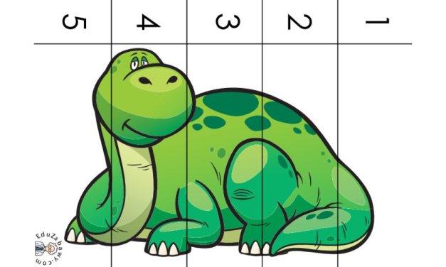 Dzień Dinozaura: Puzzle 5 elementów (10 kart pracy)