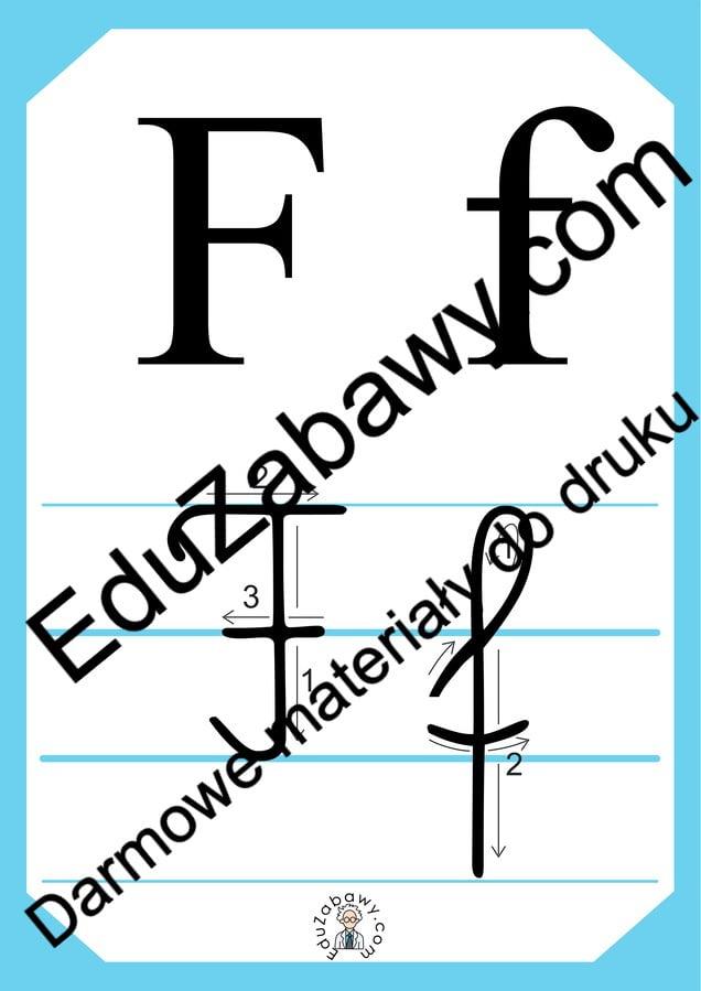 Plansza edukacyjna: litera F z kierunkiem pisania Alfabet (Nauka pisania) Nauka pisania Nauka pisania litery F