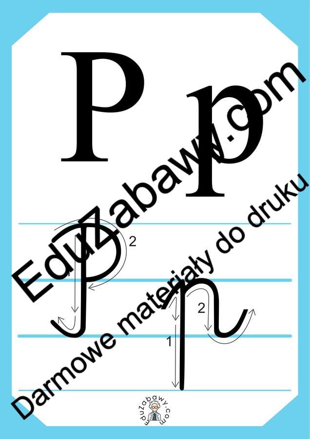 Plansza edukacyjna: litera P z kierunkiem pisania Alfabet (Nauka pisania) Nauka pisania Nauka pisania litery P