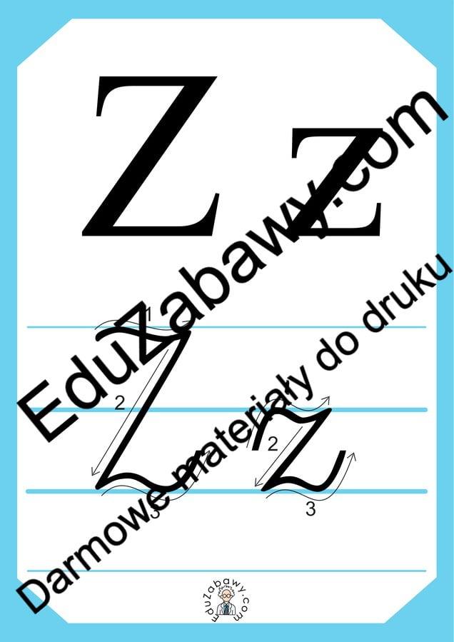 Plansza edukacyjna: litera Z z kierunkiem pisania Alfabet (Nauka pisania) Nauka pisania Nauka pisania litery Z
