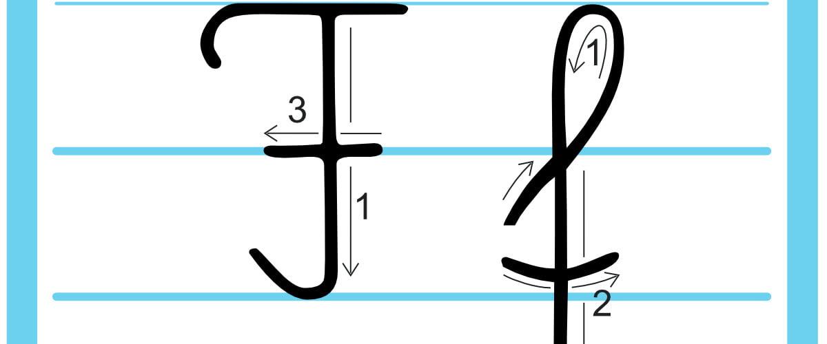Plansza edukacyjna: litera F z kierunkiem pisania