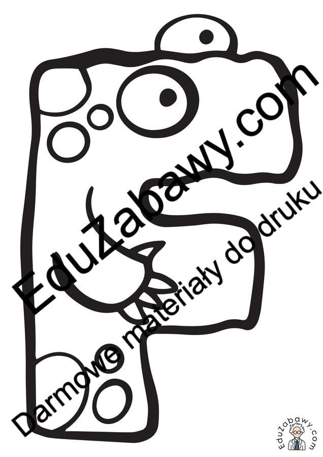 Litera F: kolorowanki do wydruku Alfabet (Nauka pisania) Nauka pisania Nauka pisania litery F