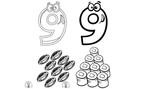 Cyfra 9: kolorowanki do wydruku