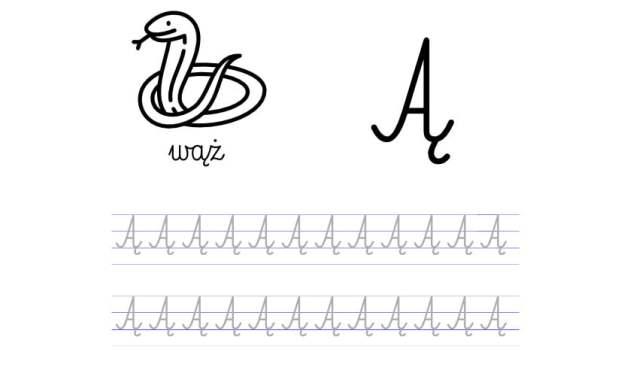 Pisanie po śladzie w liniaturze: Litera Ą (3 karty pracy)